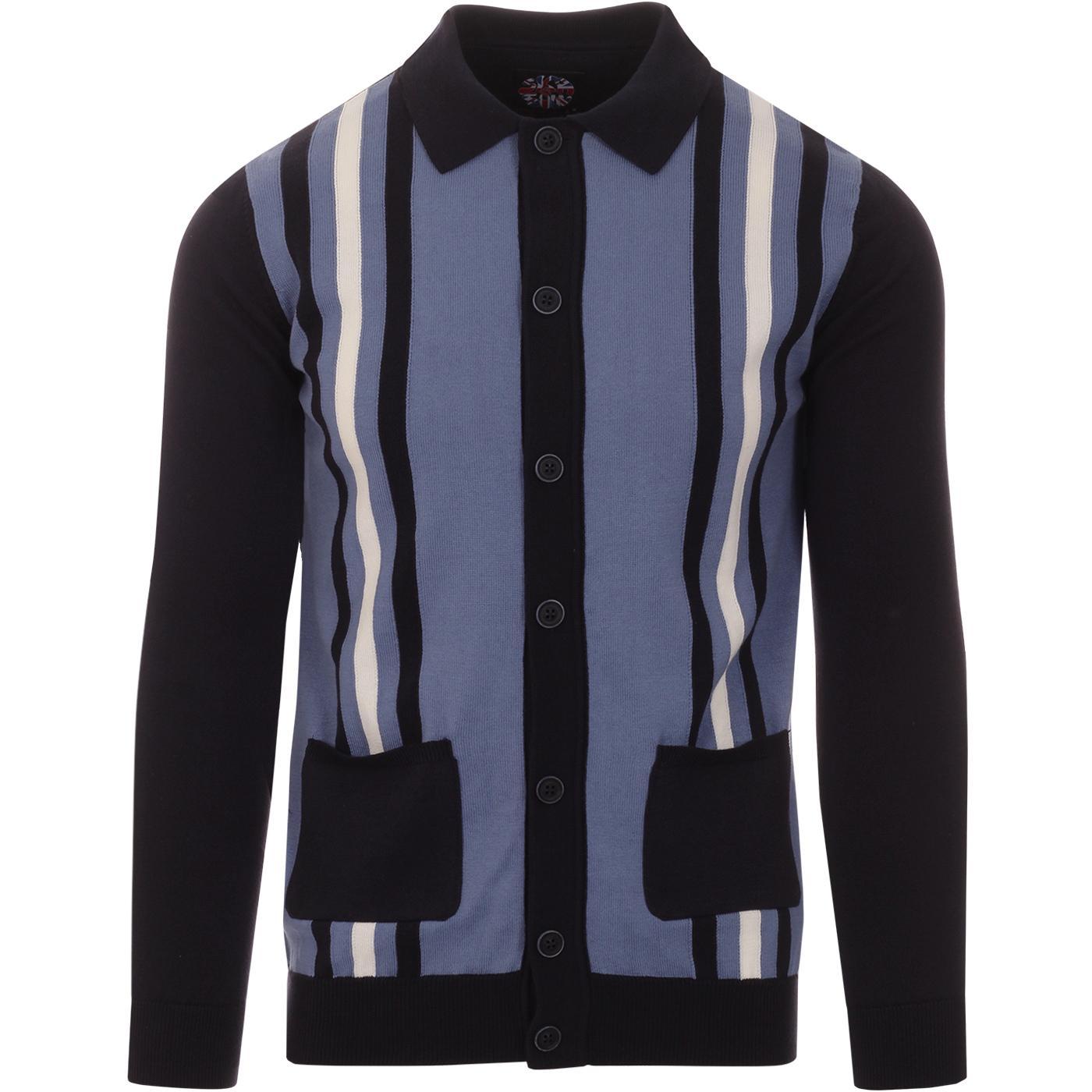 SKA & SOUL 60s Mod Stripe Knit Polo Cardigan NAVY