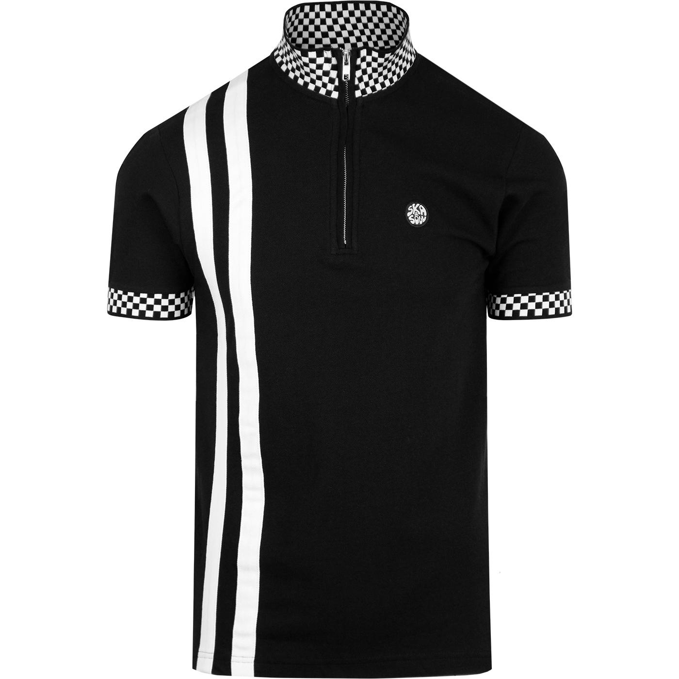 SKA & SOUL Racing Stripe Check Collar Cycling Top