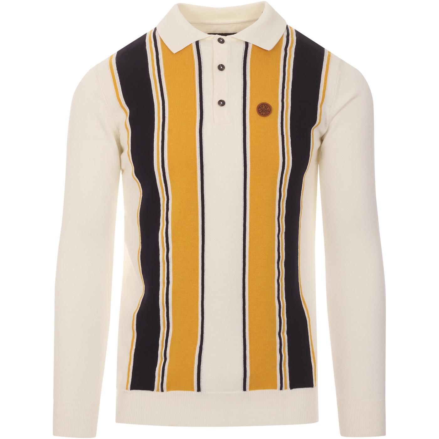 SKA & SOUL 60s Mod Stripe Front Knit Polo Top ECRU