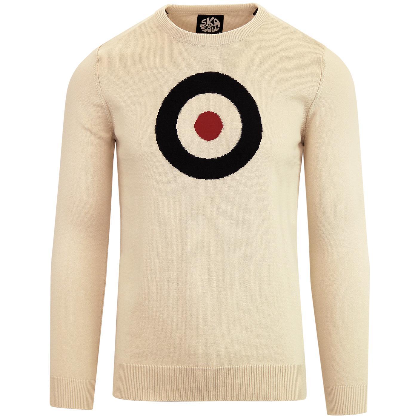 e1533954b SKA & SOUL 1960s Pop Art Mod Target Knit Jumper in Stone
