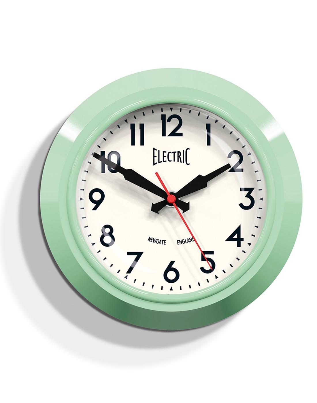 Electric Newgate Retro 1950s Small Wall Clock Grn
