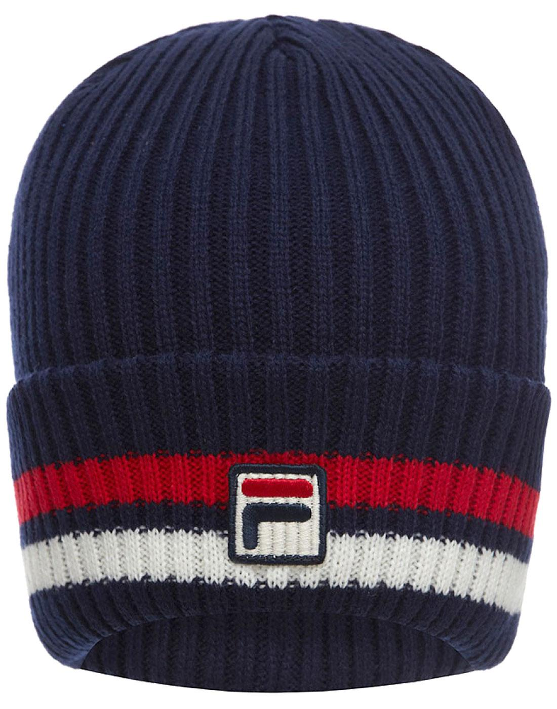 767f7085073 FILA VINTAGE 70s Retro Knitted Snow Time Beanie hat in Peacoat