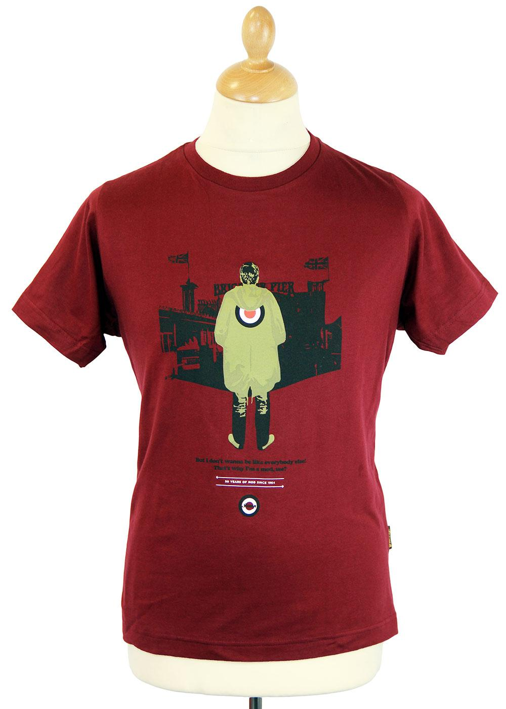 acfa9fe8d5 STOMP I m a Mod Retro 50 Years of Mod Scooter T-Shirt in Burgundy