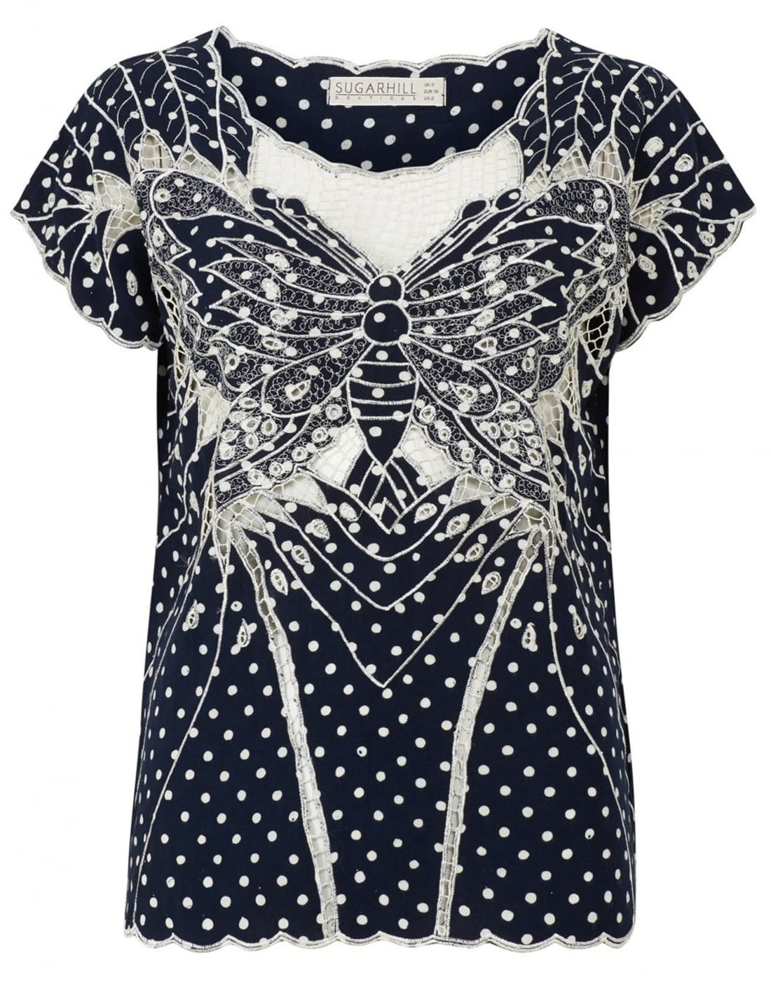 Butterfly SUGARHILL BOUTIQUE Retro Cutwork Top