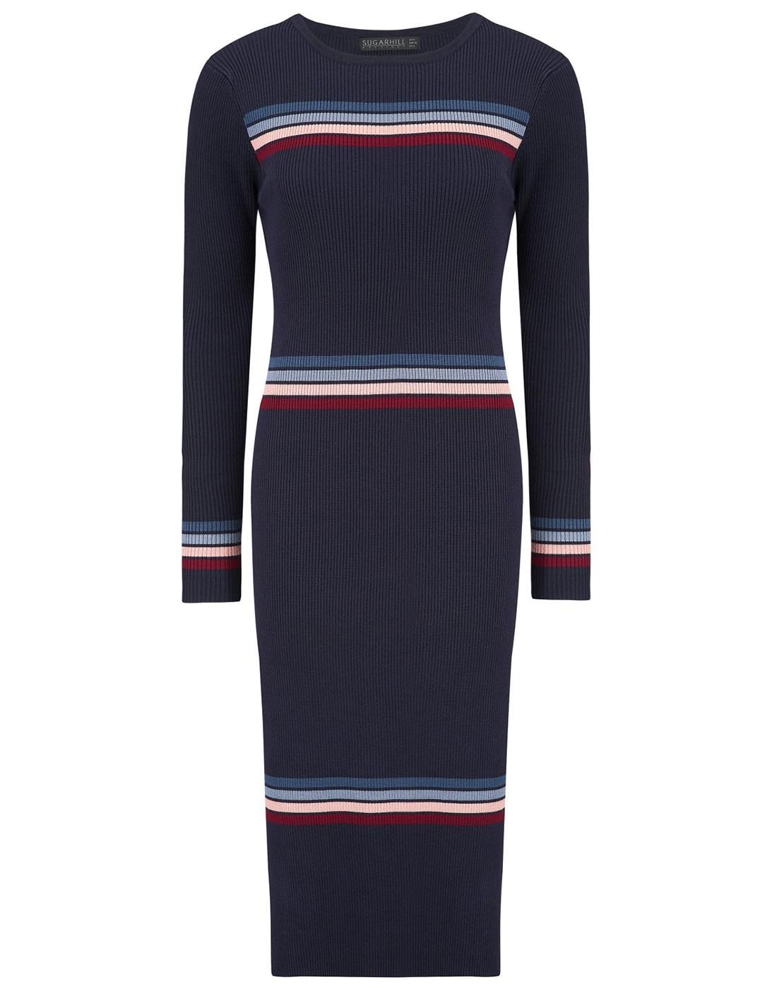 SUGARHILL BOUTIQUE Retro 70s Striped Knitted Dress