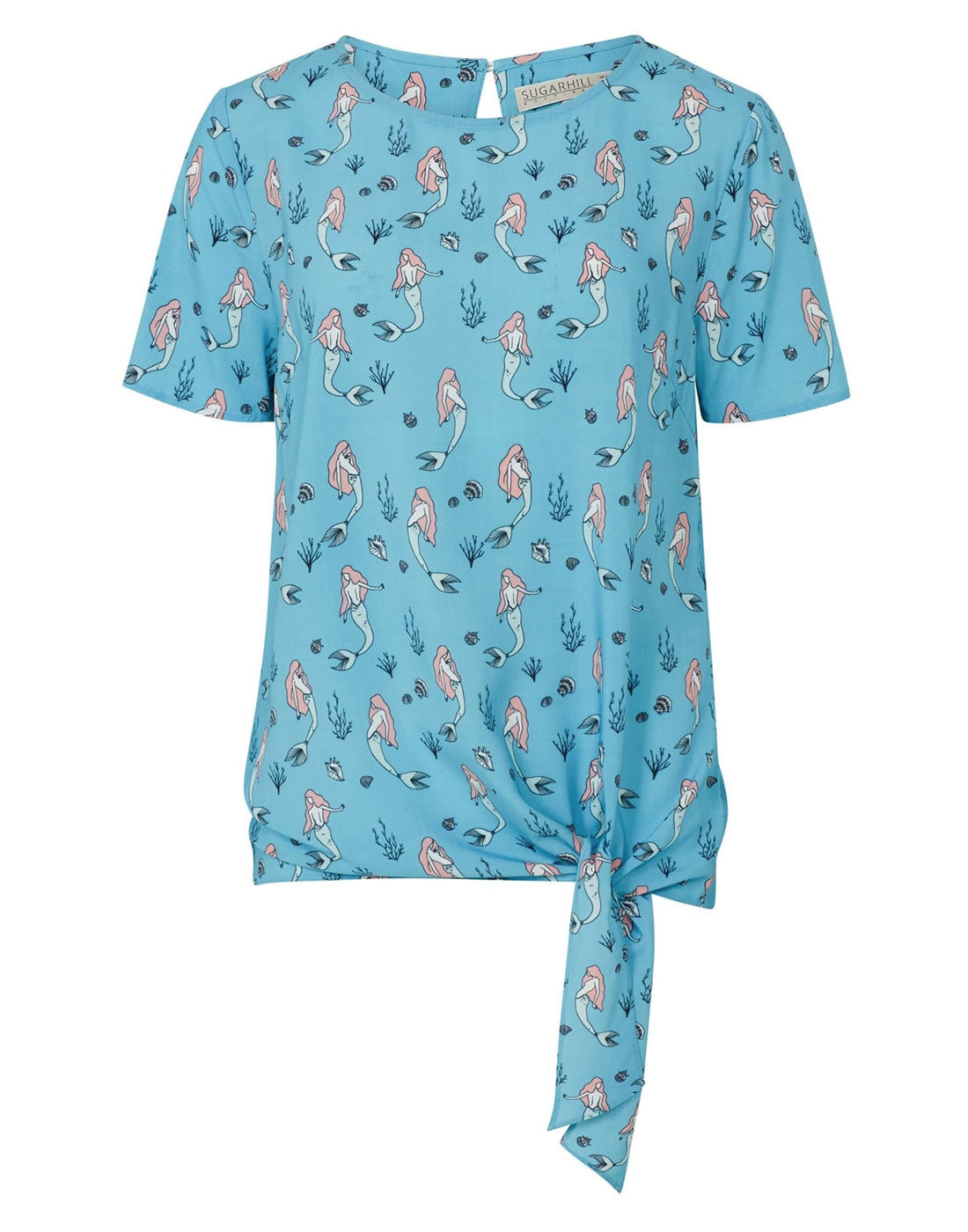 Zia SUGARHILL BOUTIQUE Retro Mermaid Print Tie Top