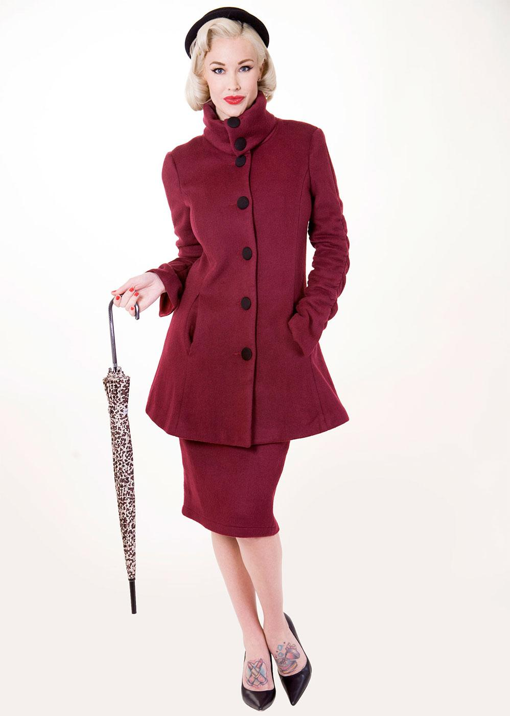 Divine Wine TATYANA 1950s Vintage High Collar Coat