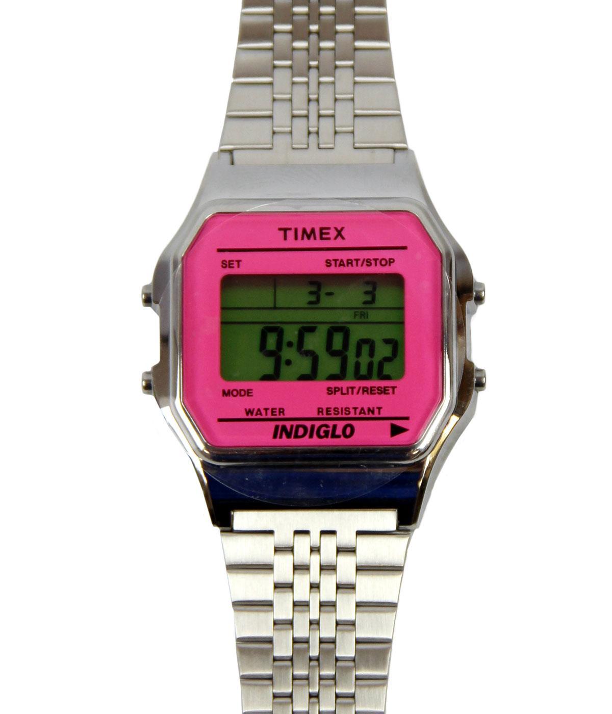 TIMEX 80 Retro 1980s Silvertone Watch w/Pink Lens