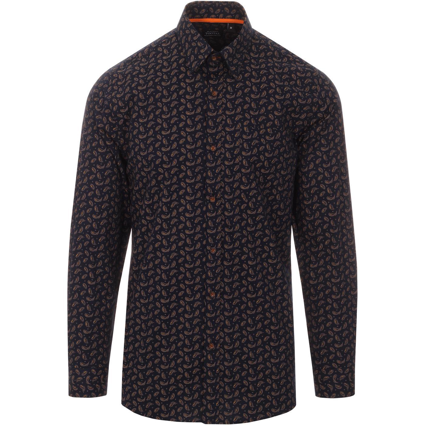 TOOTAL 60s Mod Abstract Paisley Print Shirt NAVY