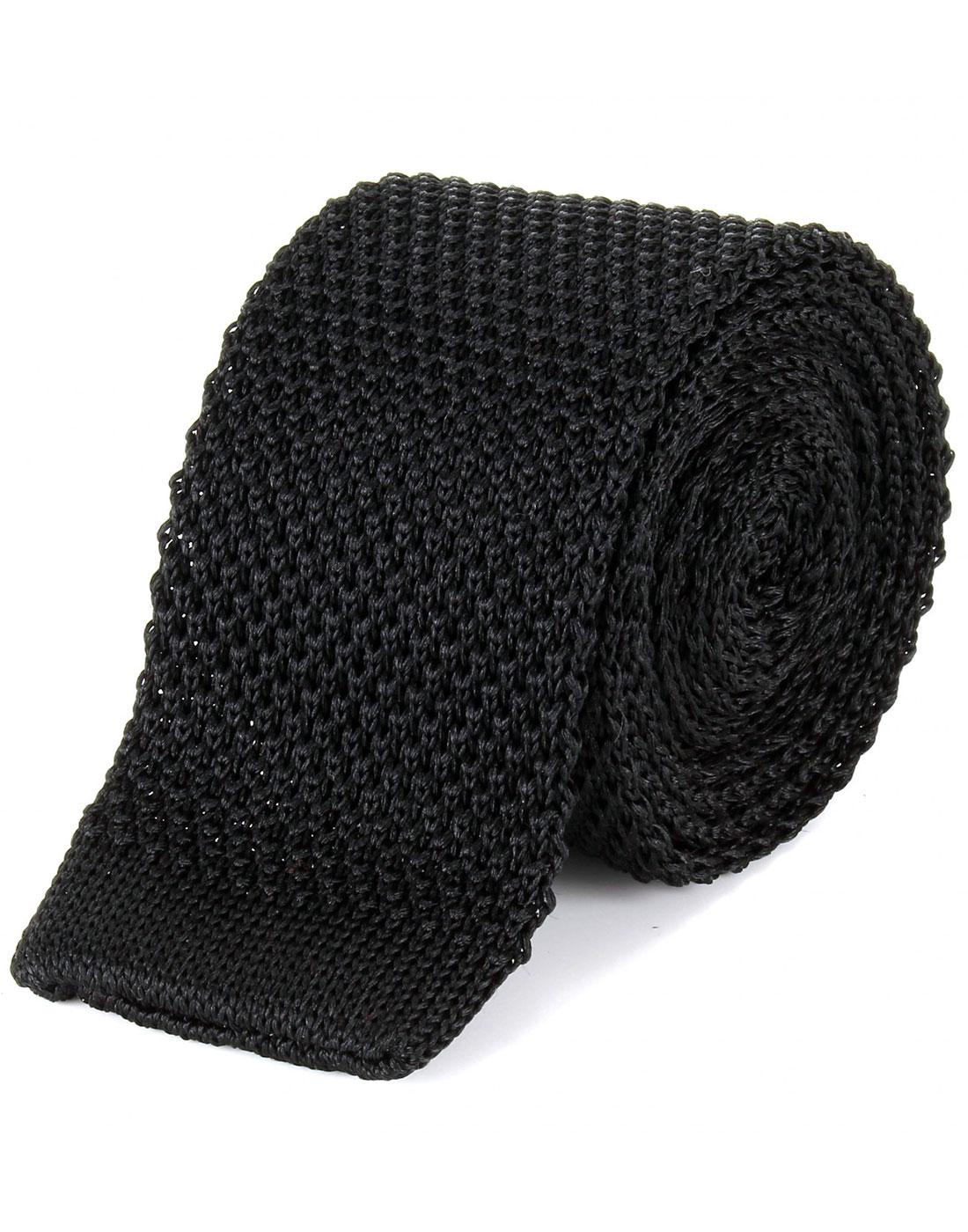 TOOTAL Retro Mod Knitted Silk Tie in Black