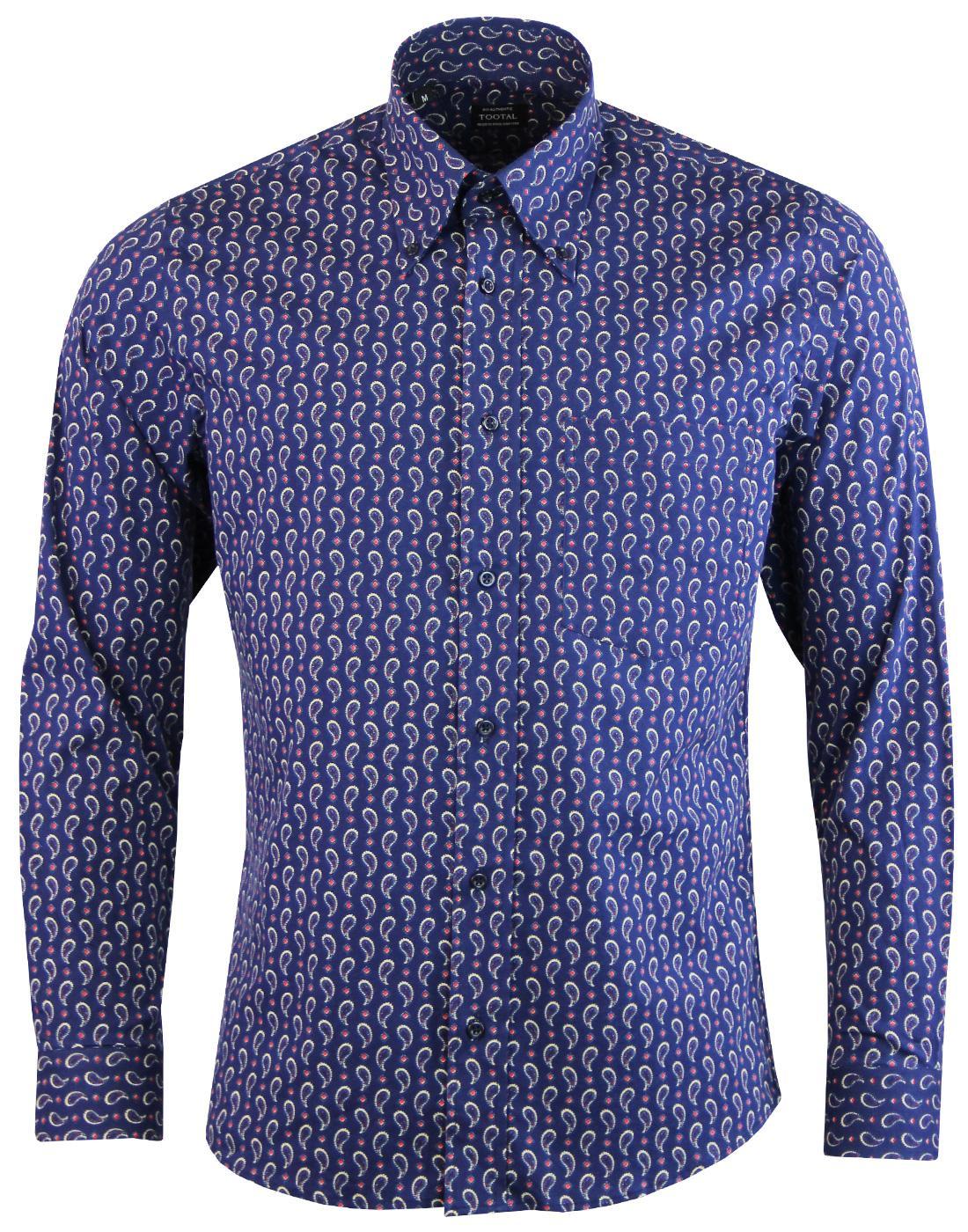 TOOTAL Retro 1960s Mod Paisley Button Down Shirt