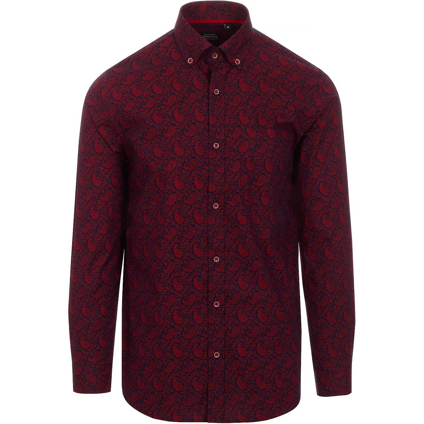 TOOTAL Retro Mod Decorative Paisley Shirt (Navy)