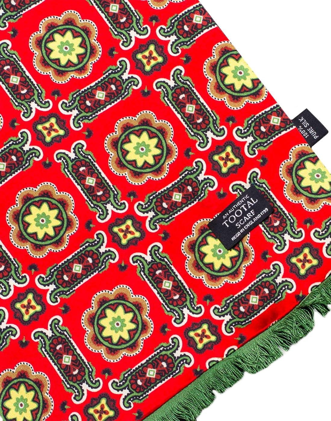 TOOTAL Sixties Tile Mod Scarf with Brush Back Red