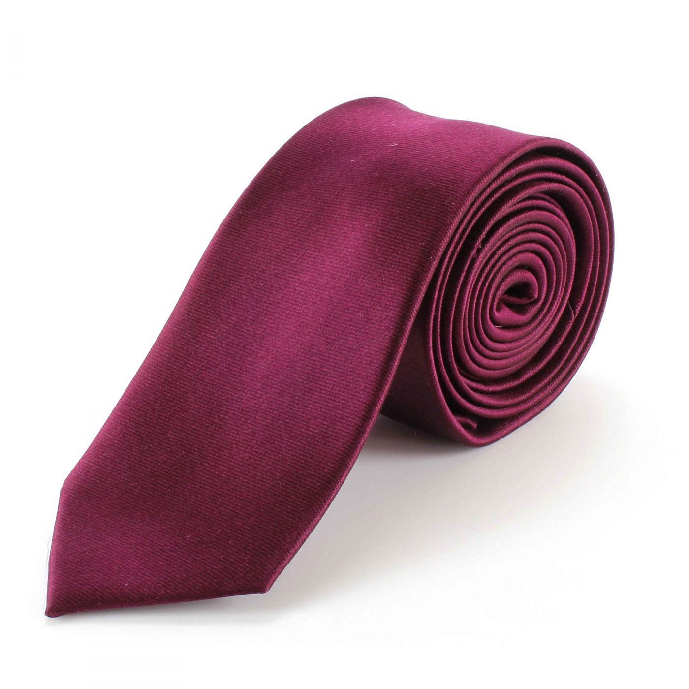 TOOTAL Men's Retro Mod Skinny Silk Tie (Burgundy)