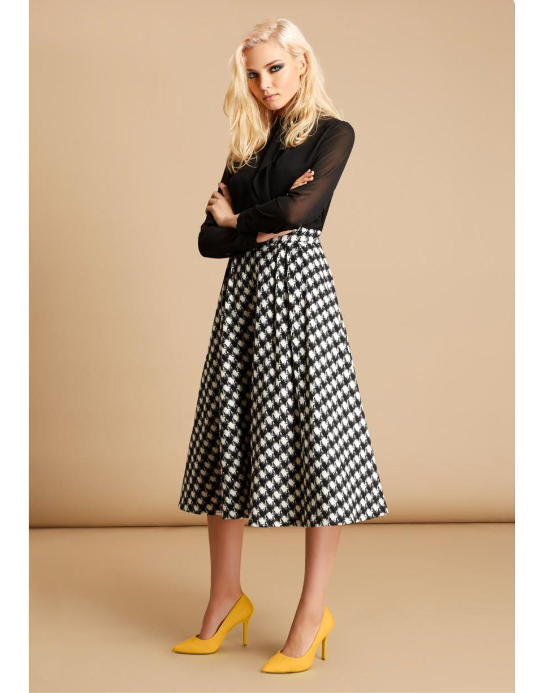 TRAFFIC PEOPLE Retro 60s Mod Dogtooth Midi Skirt