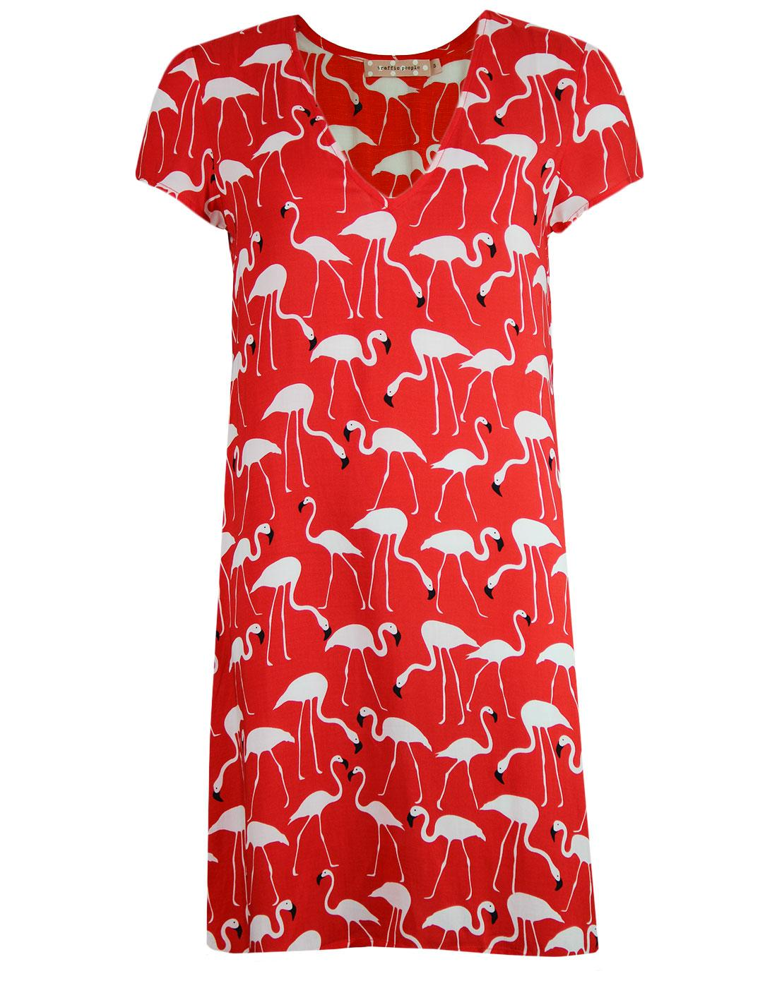 Josie TRAFFIC PEOPLE Vintage Flamingo Dress Red