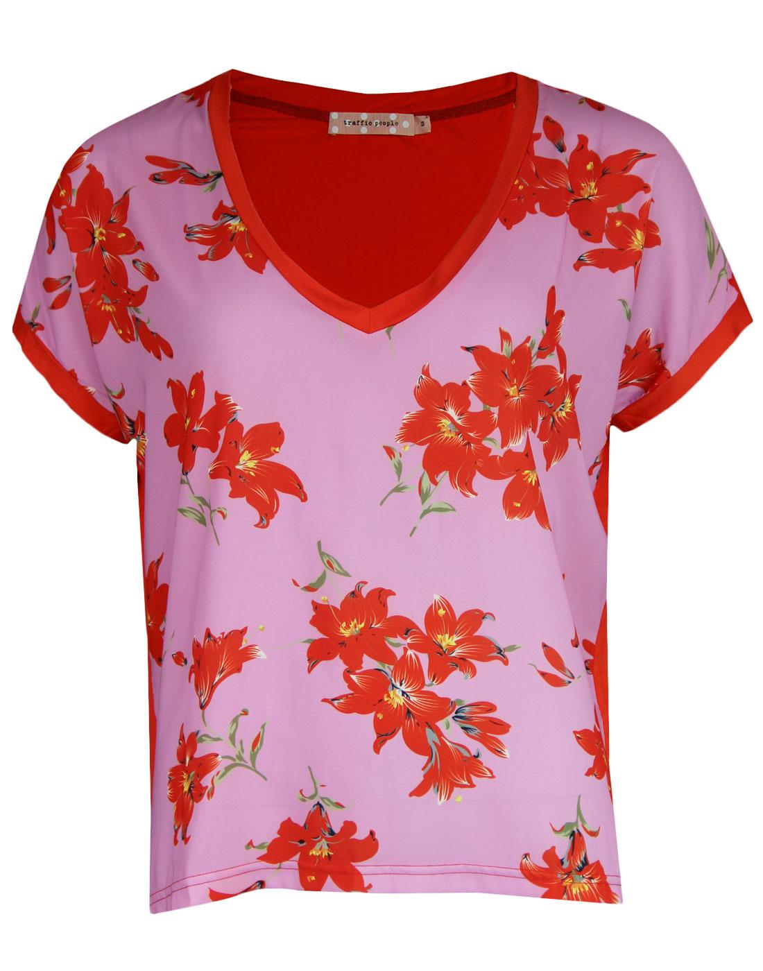 Two Faced TRAFFIC PEOPLE Retro Floral Tee Pink