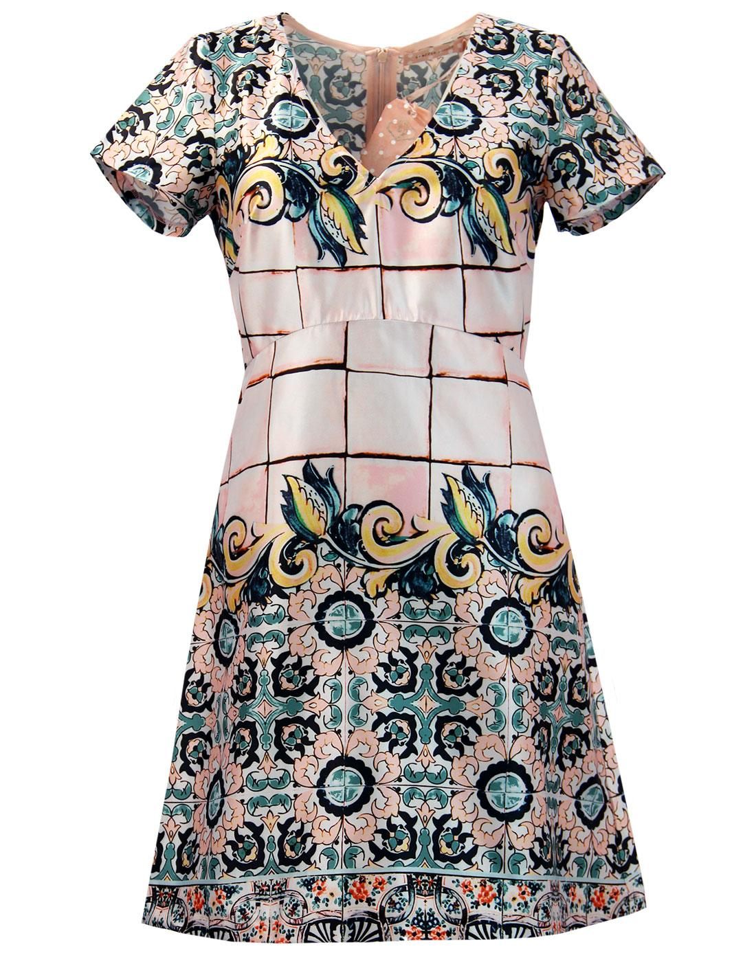 Hi Jinks TRAFFIC PEOPLE Retro Floral Mosaic Dress