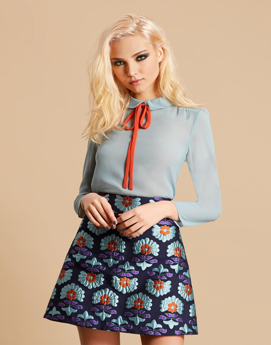 Poppy TRAFFIC PEOPLE Vintage 60s Bow Shirt - Blue