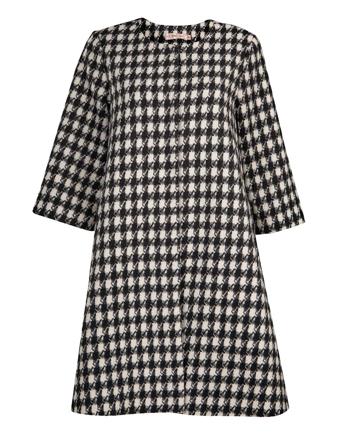 TRAFFIC PEOPLE Retro 60s Mod Dogtooth Swing Coat