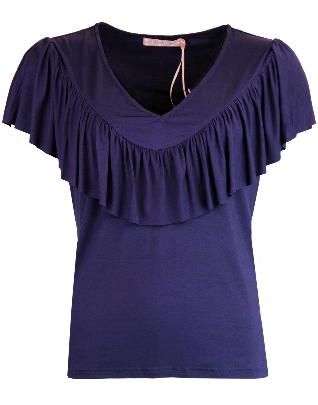 TRAFFIC PEOPLE Thrill Me Retro 60s Frill Top NAVY