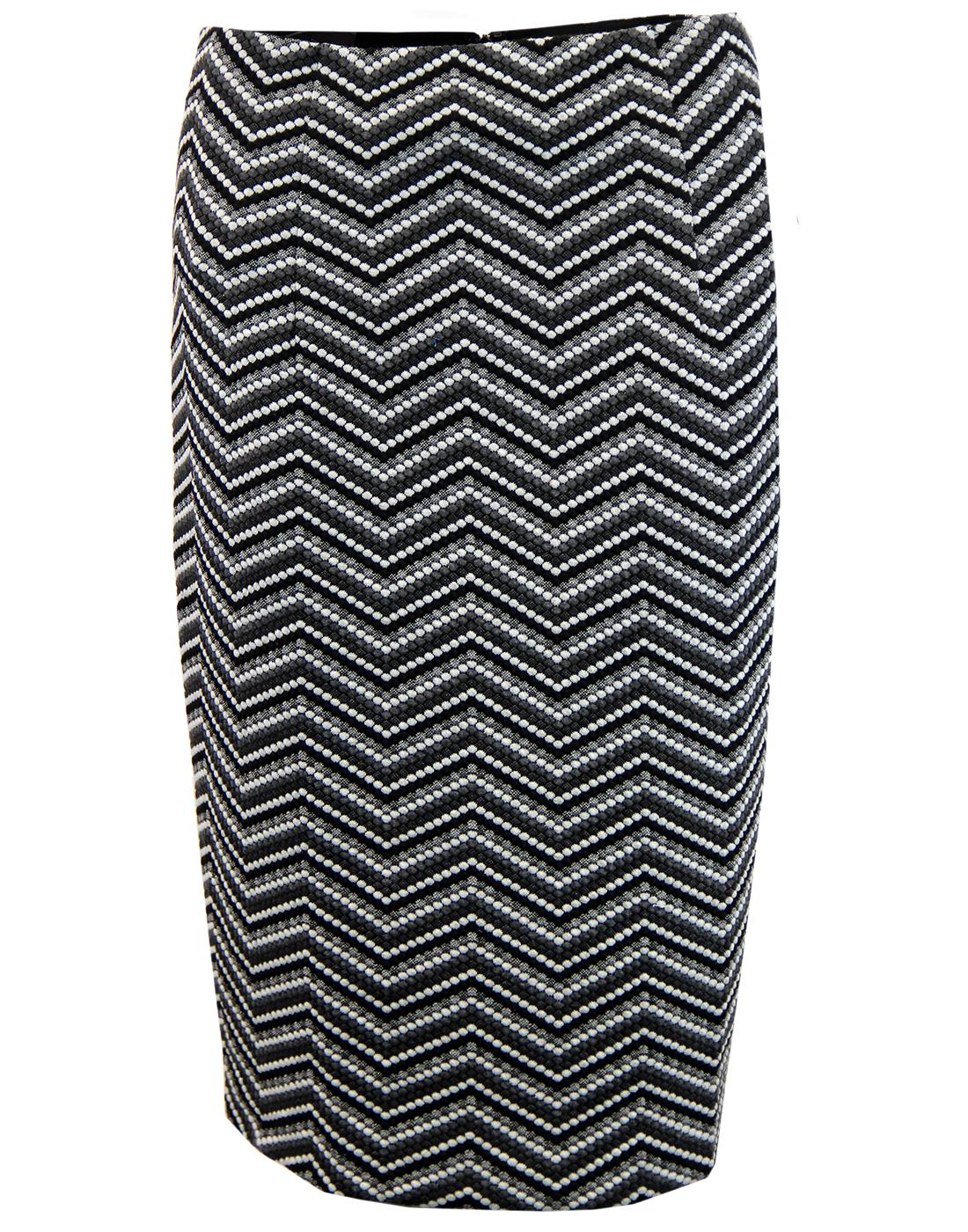 TRAFFIC PEOPLE Retro 60s Geo Woven Pencil Skirt
