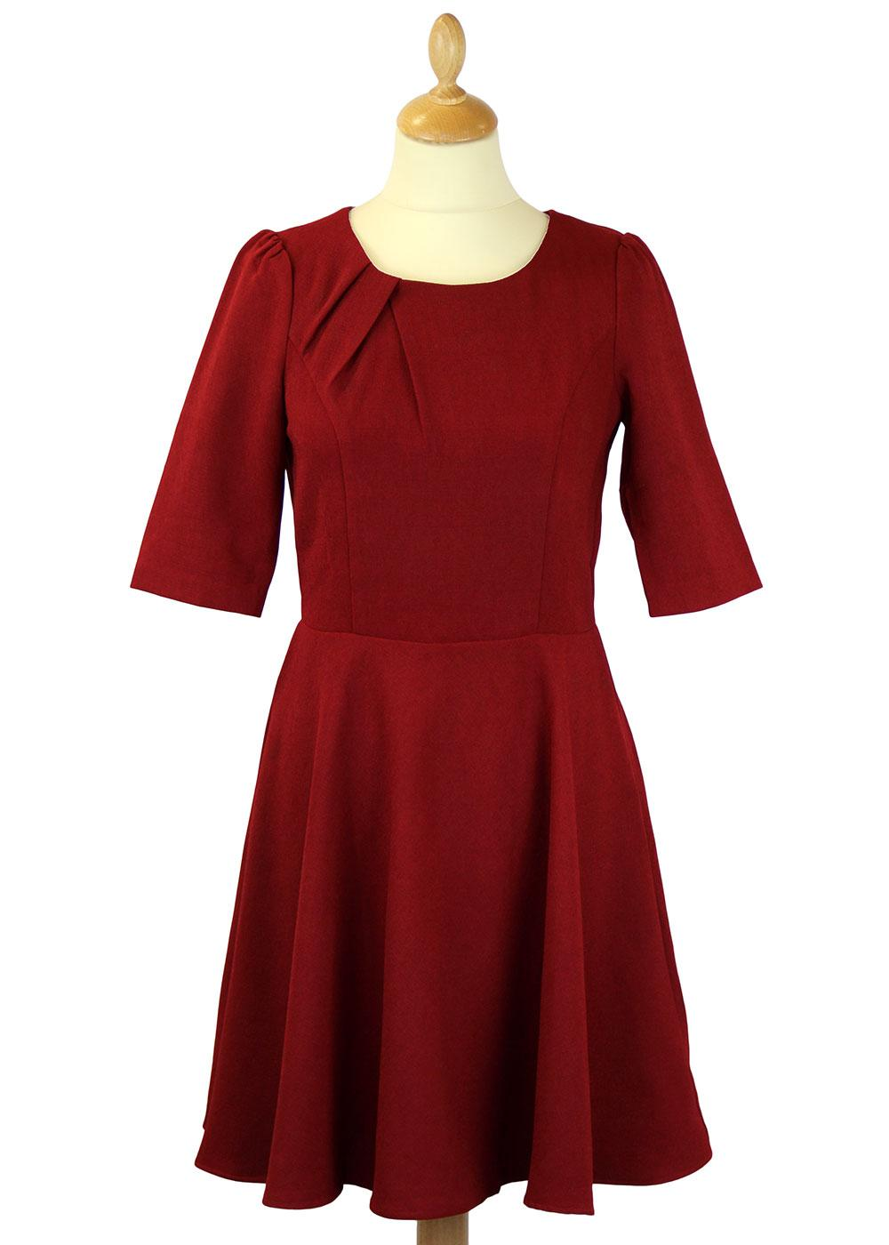 Audrey TRAFFIC PEOPLE Pleated Collar Flared Dress
