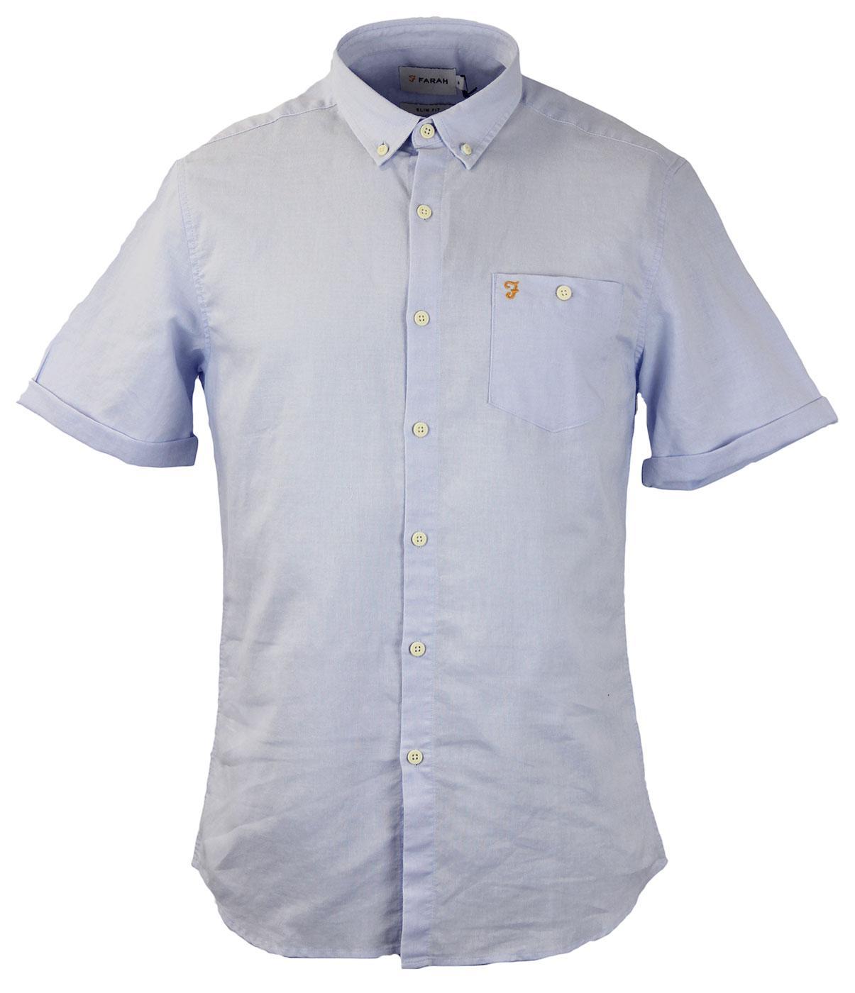 FARAH VINTAGE Trent Retro Mod S S Button Down Ramie Shirt Ice Cap 0bb421ba6