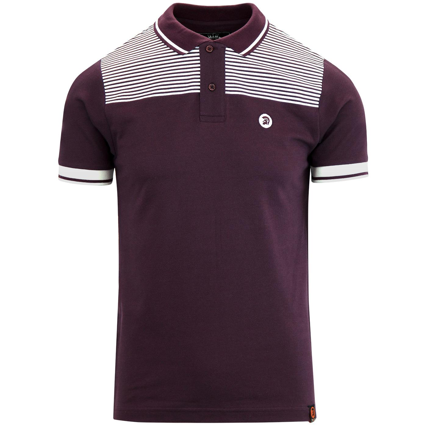 TROJAN RECORDS Men's Border Stripe Pique Polo PLUM