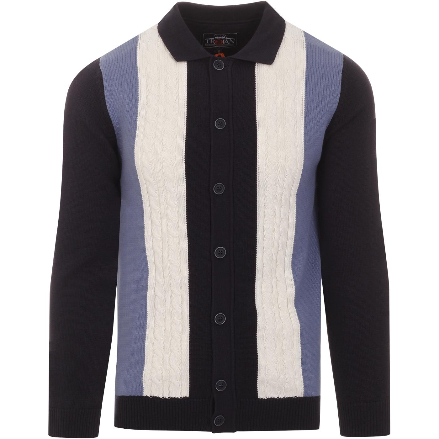 TROJAN RECORDS 60s Mod Cable Knit Polo Cardigan N