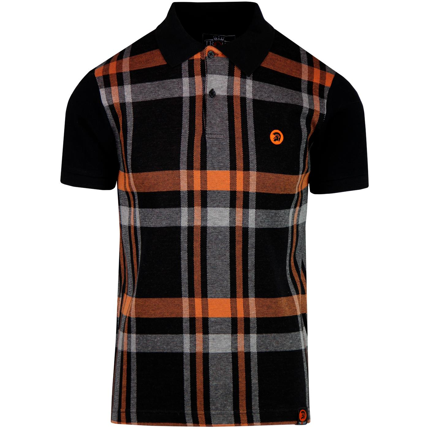TROJAN RECORDS Retro Mod Check Front Polo Top (B)