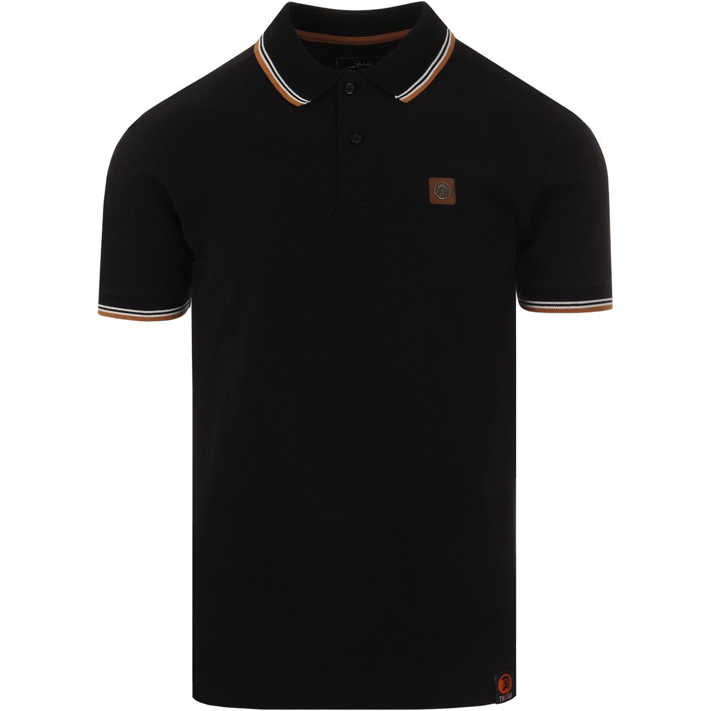 TROJAN RECORDS Classic Tipped Mod Polo Shirt BLACK