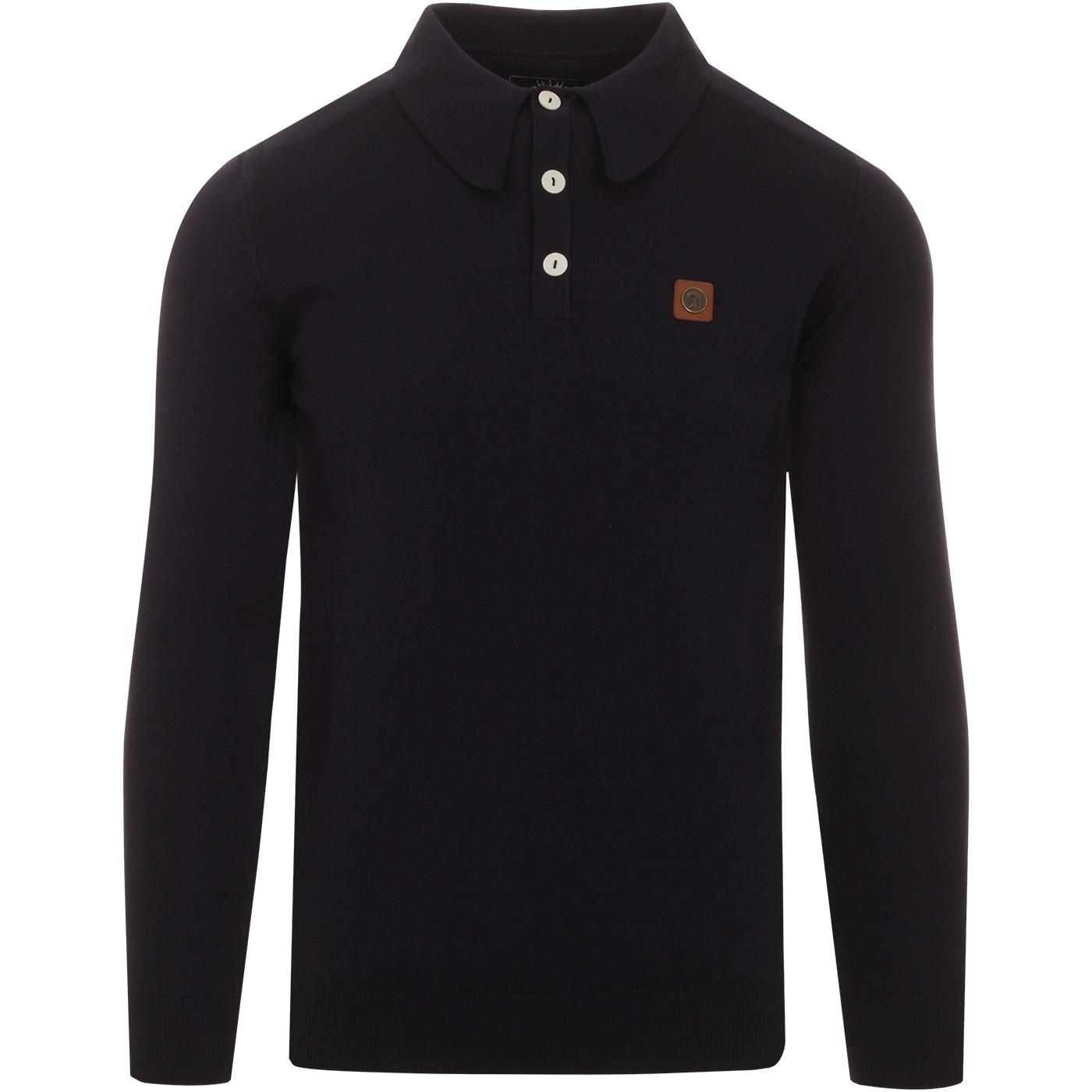 TROJAN RECORDS Men's Mod Knitted Polo Shirt (Navy)