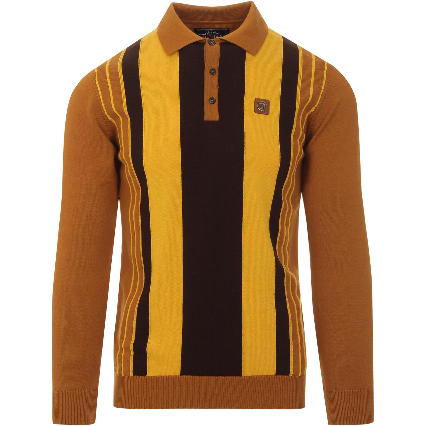 TROJAN RECORDS Mod Pinstripe Panel Knit Polo (Tan)