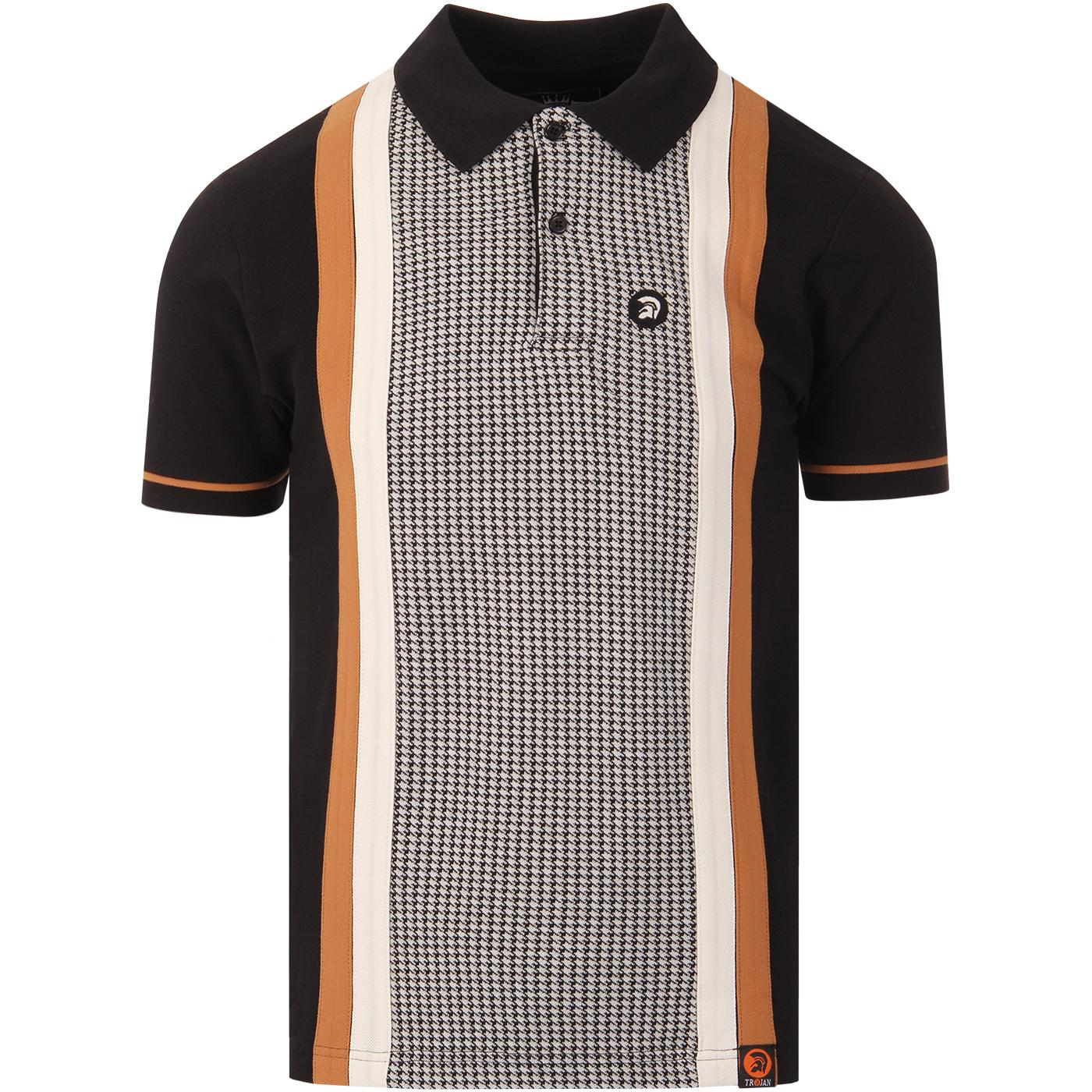 TROJAN RECORDS Mod Cut & Sew Dogtooth Panel Polo B