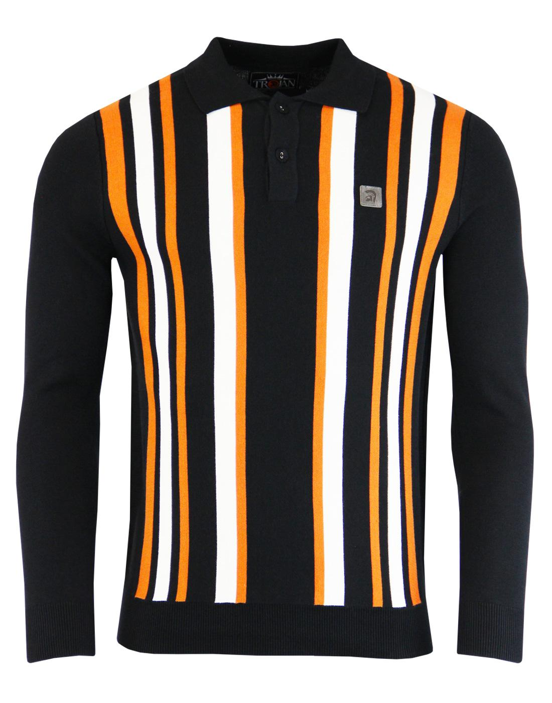 TROJAN RECORDS Mod Ska Stripe Panel Knit Polo (B)