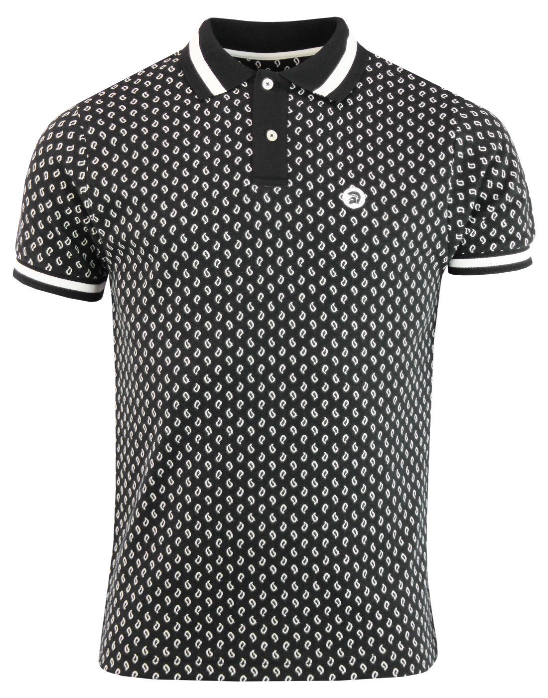TROJAN RECORDS Retro Mod Jacquard Paisley Polo Top