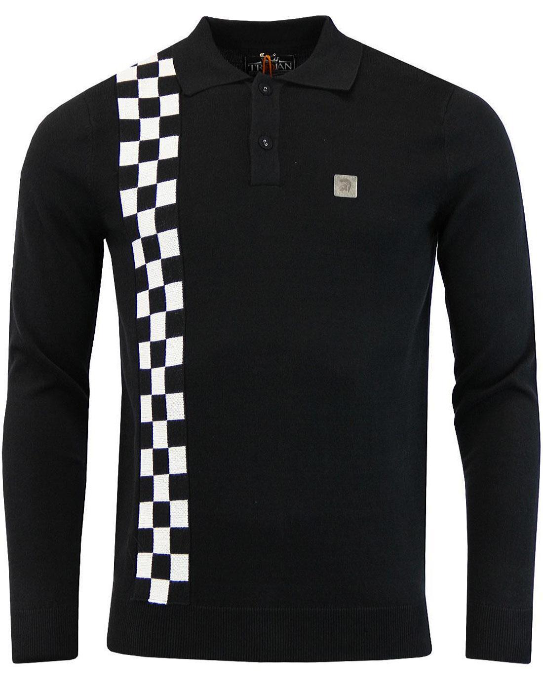 TROJAN RECORDS Mod Ska Check Knitted Polo Shirt