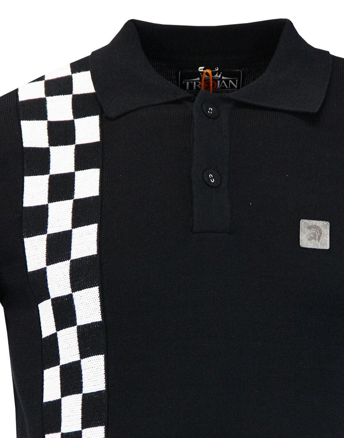 1dfa4cc37 TROJAN RECORDS Retro Mod Ska Check Knitted Polo Shirt in Black