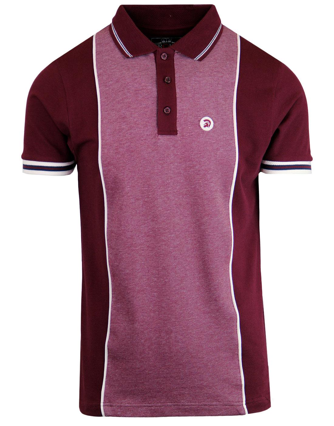 TROJAN RECORDS Retro Mod Oxford Panel Polo Top (M)
