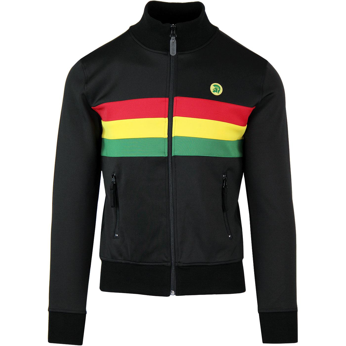 TROJAN RECORDS Rasta Panel 70s Track Top Black