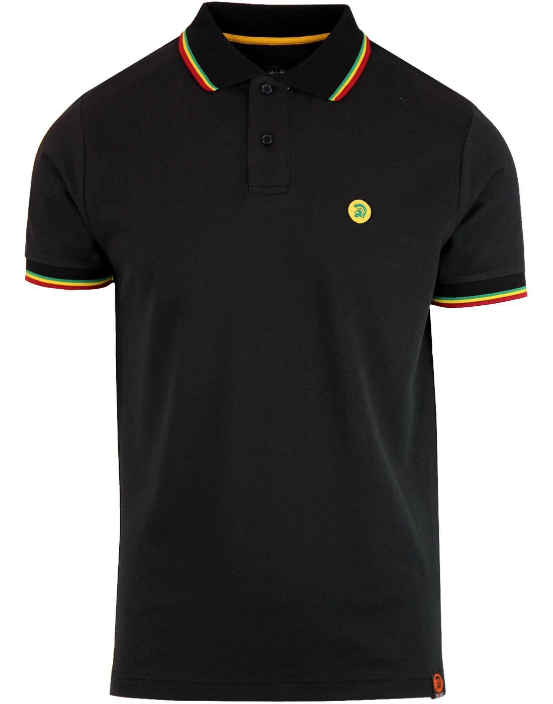 TROJAN RECORDS Retro Ska Rasta Tipped Pique Polo