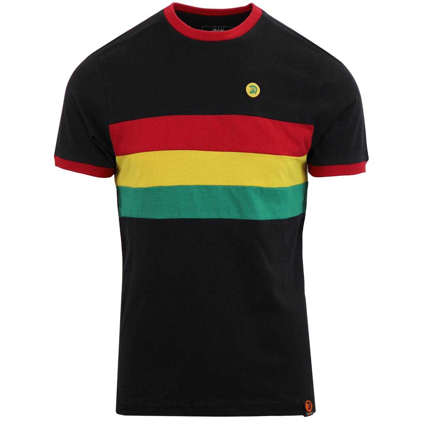 TROJAN RECORDS Mod Ska Rasta Stripe Ringer T-Shirt