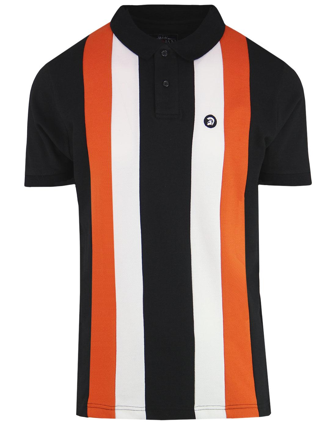 TROJAN RECORDS Mod Stripe Panel Pique Polo Top (B)