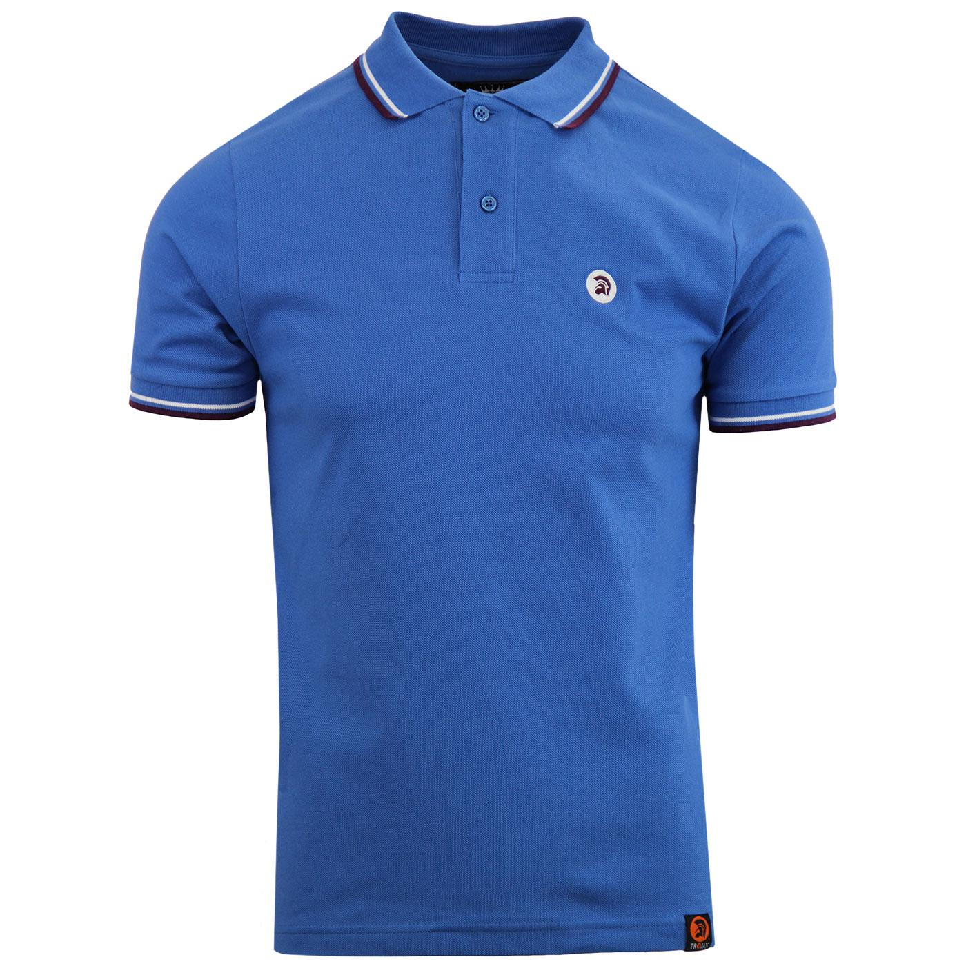 TROJAN RECORDS Men's Mod Tipped Pique Polo SB