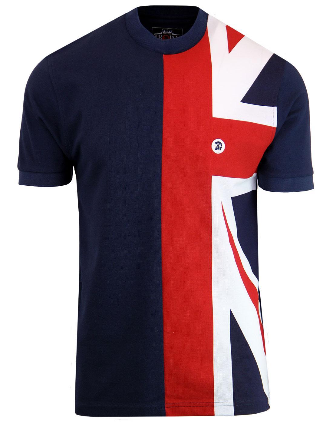 TROJAN RECORDS Mod Union Jack Pique T-shirt NAVY