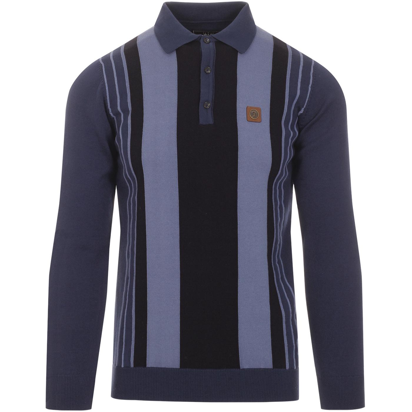 TROJAN RECORDS Mod Pinstripe Panel Knit Polo NAVY