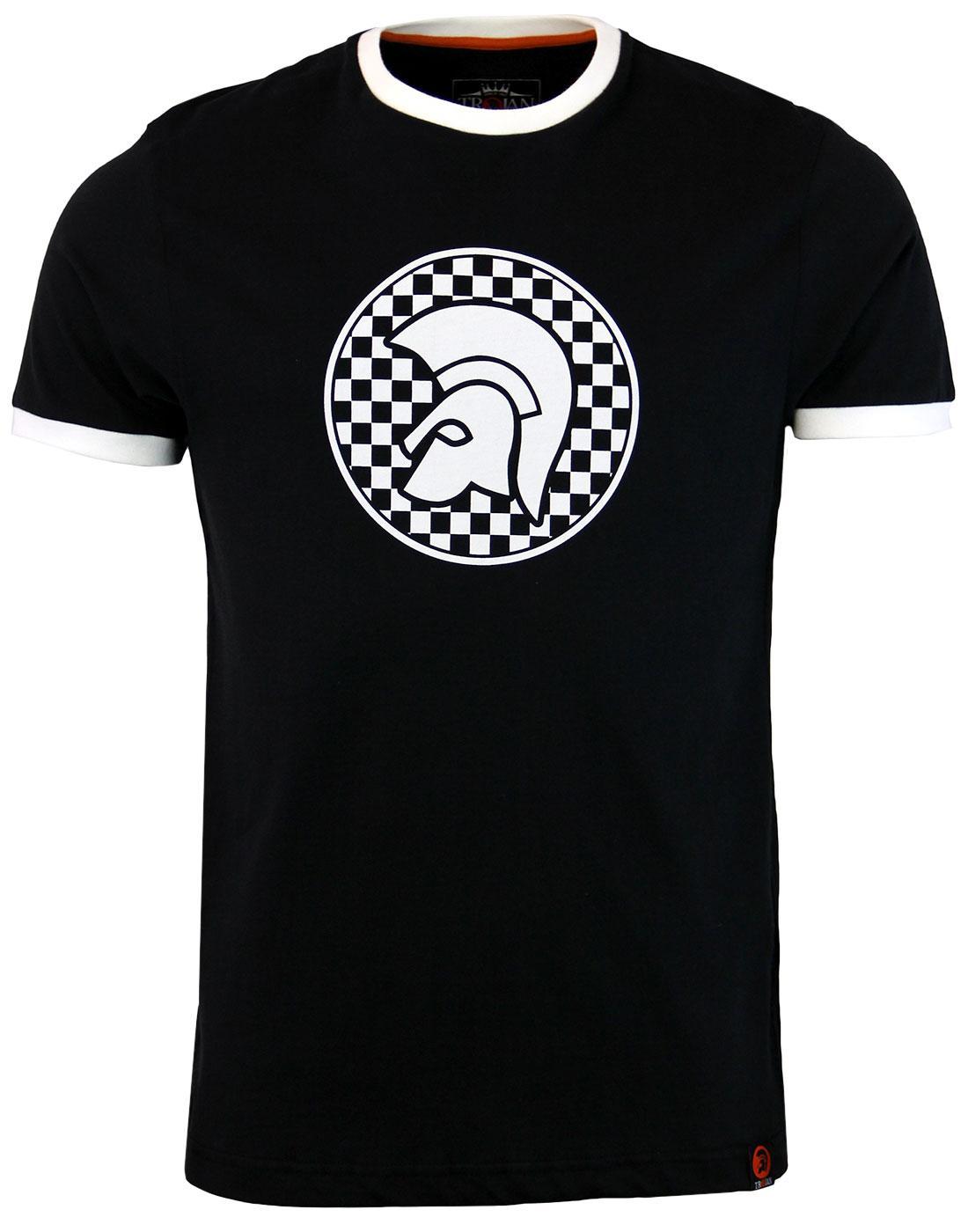 TROJAN RECORDS Ringer Retro Ska Helmet Logo Tee