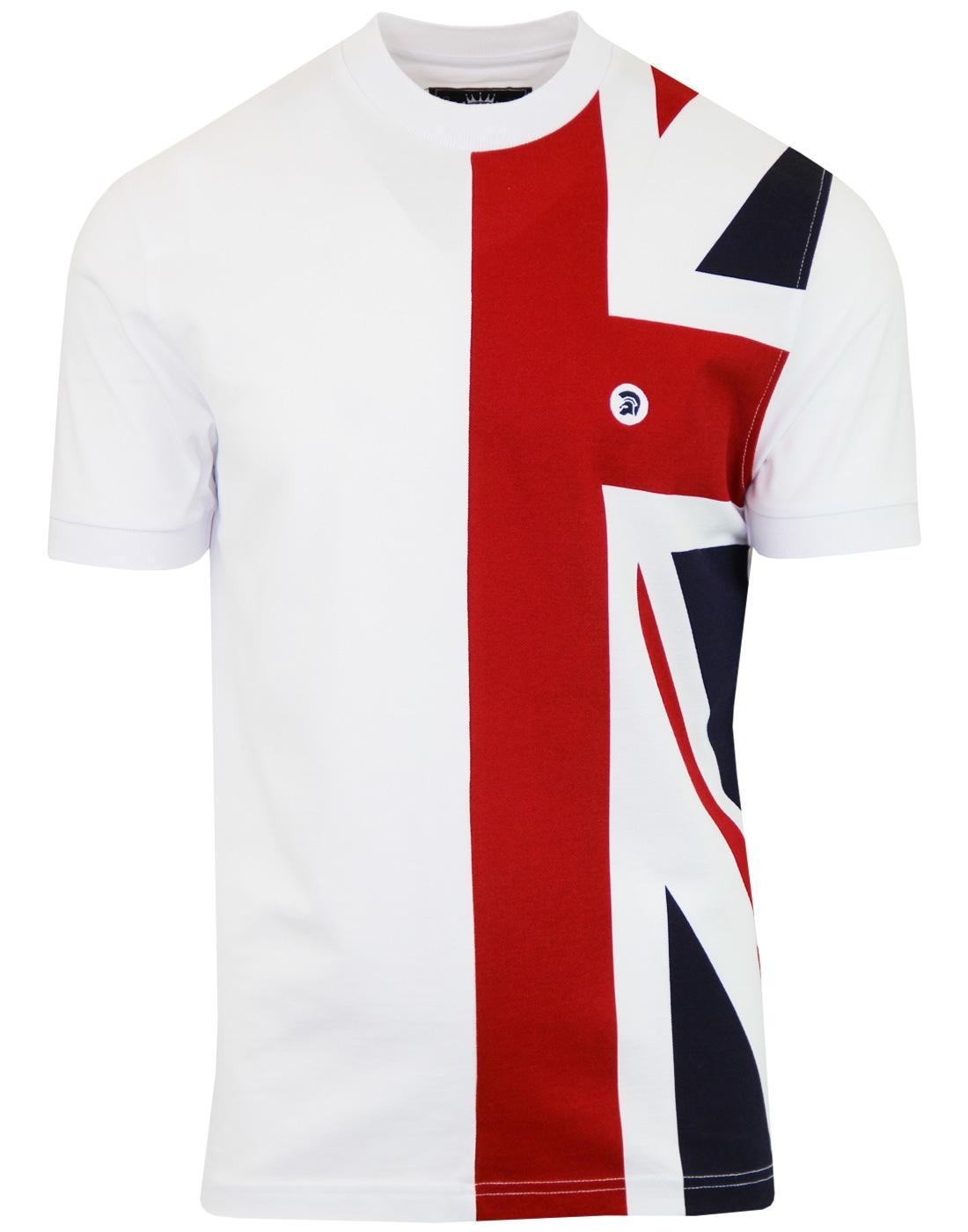 TROJAN RECORDS Mod Union Jack Pique T-shirt WHITE
