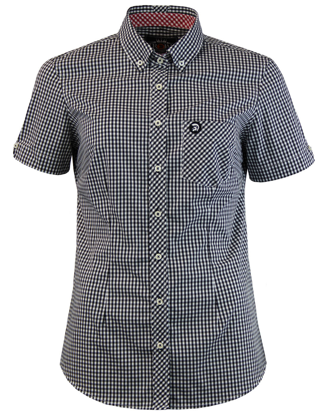 TROJAN RECORDS Womans Short Sleeve Gingham Shirt